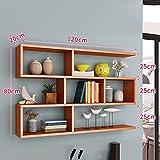 Bücherregal CHUANLAN Wand Wohnzimmer Schlafzimmer Schindel Regal Schrank Weinregal Wand-montiert (Farbe : Teak Color, größe : 120 * 15 * 80cm)
