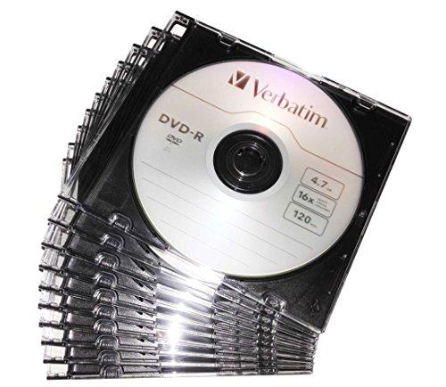 Preisvergleich Produktbild 10 DVD Rohlinge 4,7GB 16x DVD-R Verbatim AZO in Slimcase CD Hüllen schwarz