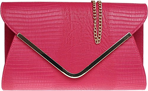 Ladies animale Croc stampa busta piatta sera pochette - Beige Dark Rose