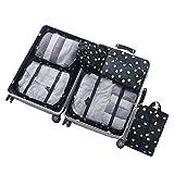 Set di 6 Organizzatore di Viaggio Imballaggio Cubi di Lavanderia Sacchetto dei Bagagli Compressione Sacchetti Bag in Sacchetto dell'Organizzatore per Vestiti Marina 2