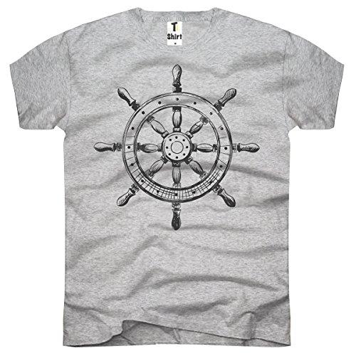 TEE-Shirt, Herren T-Shirt mit Aufdruck. Coole Motive. T-Shirt mit Steuerrad Druck. Grau