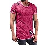 VEMOW Sommer Männer Mode Lässig Im Freien Datum Loch Runde Kragen Tees Hemd Kurzarm T-Shirt Bluse Pullover Pulli(Hot pink, EU-58/CN-4XL)