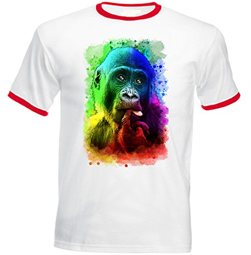 Teesquare1st Men's MONKEY 2 Red Ringer T-shirt Size Medium (Ringer Monkey)