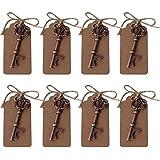 Amajoy abrebotellas con forma de llave con tarjeta y e hilo de cobre, decoración rústica y recuerdos para boda, 40 unidades.