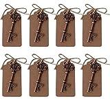 AmaJOY, set di apribottiglie a forma di chiave, in rame, con cartellino e spago, stile rustico, idea regalo per gli invitati al matrimonio, 40 pezzi
