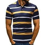Riou T-Shirts Poloshirt Herren Slim Fit, Männer Polo Shirts Kurzarm Polokragen Polohemd Knöpfe Design halbe Patchwork Gestreift Freizeit T-Shirt Casual Tee (3XL, Gelb)