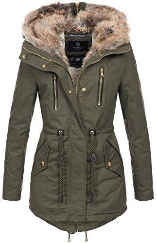 Navahoo warme Damen Winter Jacke lang Teddyfell Winterjacke Parka Mantel B648 [B648-Diamond-Grün-Gr.M]
