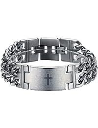 Ostan - 316L acero inoxidable gótico cruz pulseras de hombres - nueva moda joyería brazaletes, plata