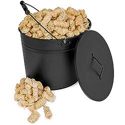 Ascheeimer Eimer mit Deckel voll gefüllt mit 5 kg Holzwolle Kaminanzünder - Kohleeimer für Kamin Ofen Grill (15L, Schwarz, matt) - 5kg Ofenanzünder Bioanzünder