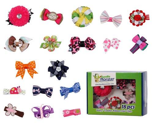 Bundle Monster - 18 pasadores y hebillas para bebé - Diseños mixtos de flores y lazos