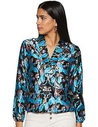 Krave Women Floral Regular fit Top AW18KRAVE_NEHA02 Black/Brilliant Blue S