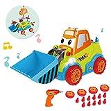 EisEyen Disassemblable Spielzeug Bulldozer Spielzeugautos mit Sound und Lichter Bohrmaschine Schrauben Tool Kit für Kinder ab 1 2 3 Jahren