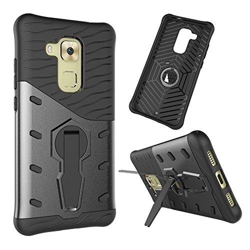 YHUISEN Huawei Nova Plus Case, Hybrid Tough Rugged Dual Layer Rüstung Schild Schützende Shockproof mit 360 Grad Einstellung Kickstand Case Cover für Huawei Nova Plus / Maimang 5 ( Color : Red ) Black