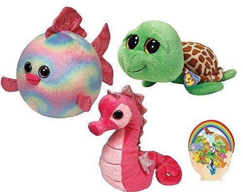 Ty Beanie Babies Rosa Majestic Seahorse -Boos Grün Zippy Turtle - 6