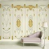 HONGYUANZHANG Personalizzato 3D Wallpaper Lusso 3D Golden Carving Europeo Murale Soggiorno Camera Da Letto Tv Sfondo Muro Dipinto Volume Della Carta Da Parati,110cm (H) X 190cm (W)