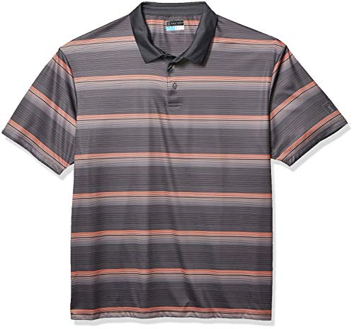 PGA TOUR Herren Short Sleeve Striped Polo Golf-T-Shirt, Stingray/Coral Quarz, Large Hoch