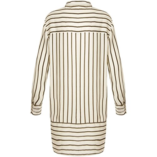 COSTER COPENHAGEN Damen Hemd Striped Long Shirt Off-White (Forest Stripe Off White)