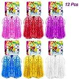 Hatisan-Pro 12 Piezas de Pompones para Animadoras de Primera Calidad, Cheerleader Pompoms de Plástico para Deportes Aclamaciones Baile de Baile Disfraces Fiesta Nocturna (6 Colores)