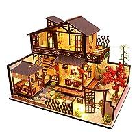 Makluce DIY Doll House LED Japanese Retro Small Loft Assembled Toy Cottage Christmas New Year Gift