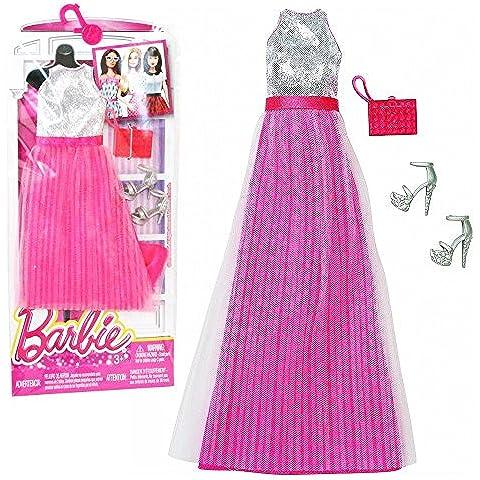 Barbie - Tendencia de la Moda para la Ropa de la Muñeca Barbie - Vestido de Noche Rosa Plata