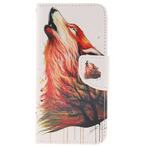 Price comparison product image For iPhone 6/ 6S Leather Flip Case Cover,Meet de Painted pattern PU Leather Stand Function Protective Cases Covers with Card Slot Holder Wallet Book Design,Soft TPU Silicone Inner Bumper Full Protection Cover Detachable Hand Strap for iPhone 6/ 6S - Red wolf