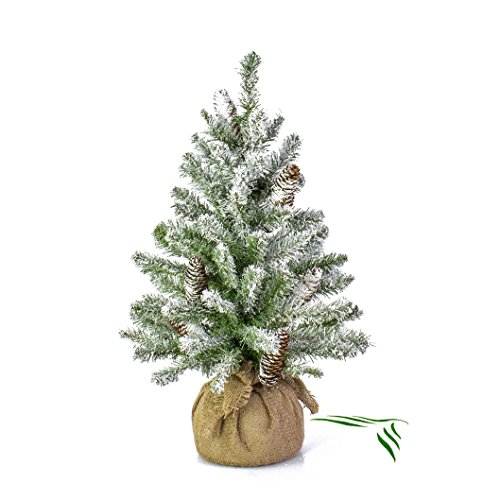 Mini-Christbaum WIEN im Jutesack, beschneit, 60 cm, Ø 40 cm - Tannenbaum Plastik - artplants