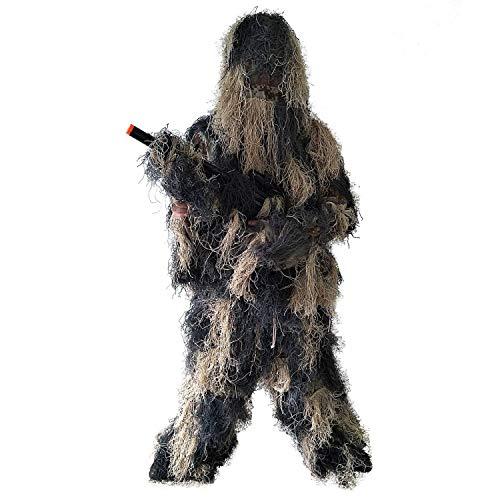 Monland 5 Stücke/Set Ghillie Anzug, Tarnung Kleidung, Kleidung und Hosen für Dschungeljagd, Schie?en, Luftgewehr, Tierwelt Fotografie oder Halloween (Der Tat Halloween-foto In)