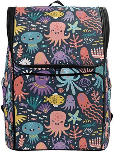 Emotion Face Octopus Jellyfish - Mochila para portátil tamaño grande, diseño de medusas