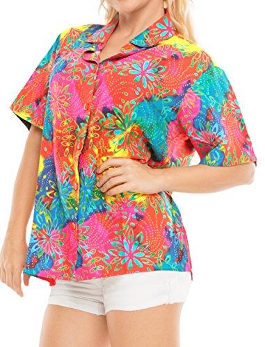 La Leela Hawaii-Hemd Blusen-Taste Nach Unten Entspannt Fit Frauen mit Kurzen Ärmeln Lager Mehr m (Taste Unten Nach Damen Shirt)
