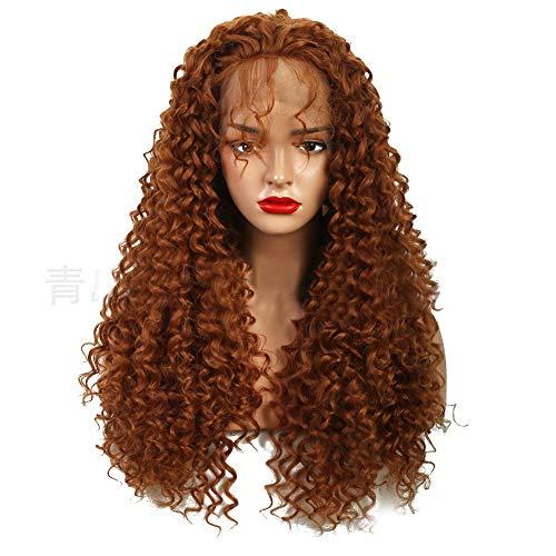 Synthetische Lace Front Perücke Afro Kinkys lockiges brasilianisches Menschenhaar lange braune kleine Rolle Re-styleable hitzebeständige 180% Dichte mit natürlichem Haaransatz für Frauen (22in)