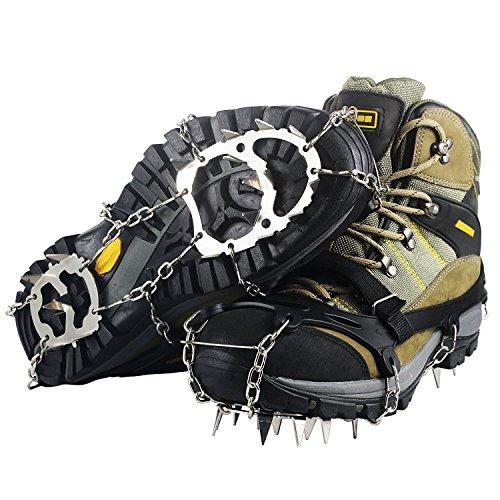 YDI Crampones de Escalada y Hielo Nieve Unisex Antideslizante Zapatos con 18 Dientes Acero Inoxidable para Invierno Senderismo Montañismo, Tamaño L