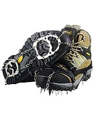 YDI Ice Klampen Schnee Spikes Steigeisen Unisex Rutschfeste Schuhe Greifer mit 18 Zähne Edelstahl für Winter Walking Wandern Bergsteigen