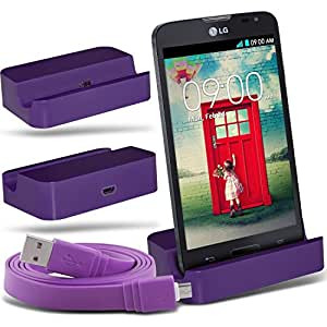 (Purple)LG L90 D405 Micro-USB-Desktop-Ladestation stehen Mount & Micro USB Laptop / PC Data Sync-Ladekabel By Fone-Case