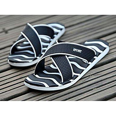 Slippers & amp da uomo;Estate Comfort PU Nylon casuale Tallone piano Bianco Nero Blu Royal Blue San sandali US8 / EU40 / UK7 / CN41