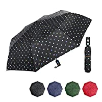 Folding Umbrella Polka Dot 8 Bones Auto Open for Girls Womens Windproof Waterproof,39 inch