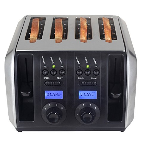 LVZAIXI Crux Stainless Steel 4 Slice Toaster – 6 Settings – Extra Wide Slots For Bagels & Thick Bread – Gluten Free Option – Reheat Setting & Slide Out Crumb Tray