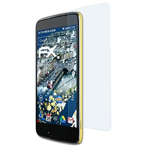atFolix Schutzfolie kompatibel mit Alcatel One Touch Idol 3C Panzerfolie, ultraklare & stoßdämpfende FX Folie (3X)