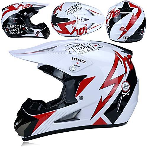 MRDEER Motocross Helm, Adult Off Road Helm mit Handschuhe Maske Brille, Unisex Motorradhelm Cross Helme Schutzhelm ATV Helm für Männer Damen Sicherheit Schutz, 5 Stile Verfügbar,E,XL