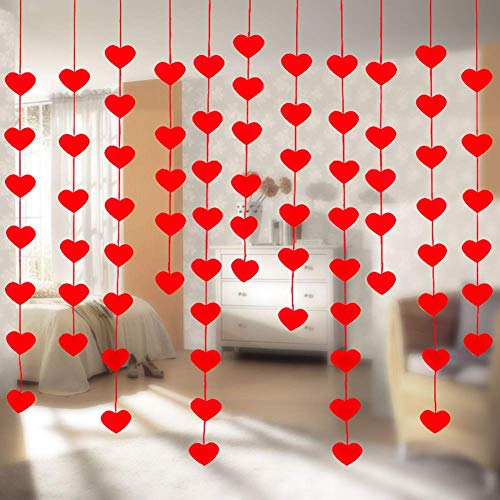 Corazón Guirnalda Cortina, 20 Piezas Corazón Rojo Guirnalda Colgante Mall Ventana Escaparate Fondo para San Valentín Fiesta Boda Decoración - como en la Imagen Show, 20pcs/Pack