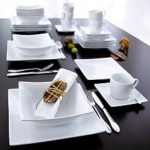 Modern - Servicio de mesa (12 piezas, platos cuadrados),color blanco