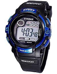 Reloj de nino - SYNOKE Reloj de pulsera de Fecha Dia Alarma de multifuncion Azul