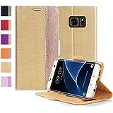 Coque Galaxy S7 Edge, Fyy® [Séries Haut de gamme] Étui Luxueux en Cuir PU avec Coverture Toute-Puissante pour Samsung Galaxy S7 Edge Or