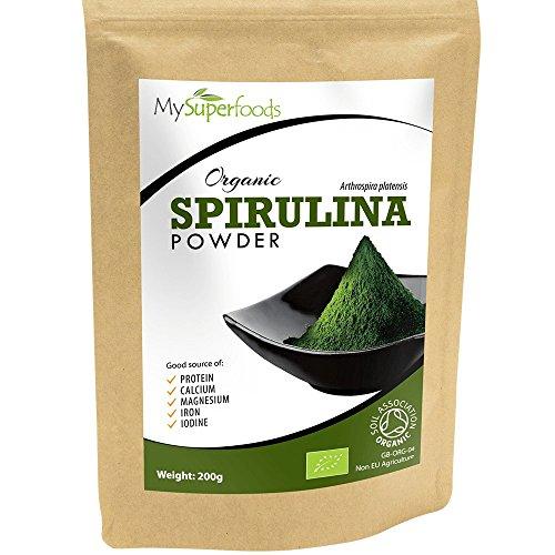 Polvo Organico Spirulina (200g) | MySuperFoods/ Repletas de proteína, calcio y vitaminas / Rica en nutrientes / la mejor calidad disponible /certificado como producto orgánico por el Soil Association.