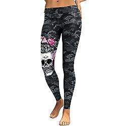 DioKlen - Leggings para Mujer, diseño de Calavera, con Estampado 3D de Camuflaje, Leggins de Fitness, Pantalones elásticos, Pantalones y Legins [KDK1768 L]