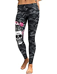 DioKlen Nouvelle arrivée Legging Femme Tête de Mort 3D Imprimé Camouflage  Legging Fitness Leggings pour Fin élastique Pantalon… 9ceb104b396d