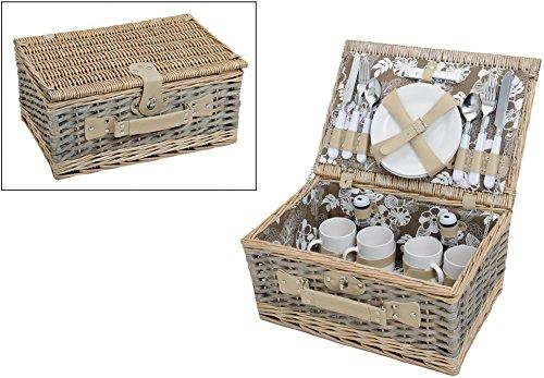 Picknickkorb Grün-Weiß mit Blumenmuster | Picknickset für 4 Personen mit Teller, Besteck und Tassen | 24 Teilig mit Geschirr, Korb aus Weidengeflecht