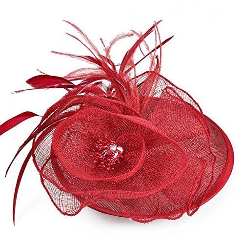 Butterme Moda Donna fiore della piuma della maglia della rete Fascinator in rilievo del cocktail della festa nuziale della fascia Headwear con la clip di capelli (Vino