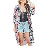 MRULIC Damen Florale Kimono Cardigan Boho Chiffon Sommerkleid Beach Cover up Leicht Tuch für die Sommermonate am Strand oder See (L, Z7-Rosa)