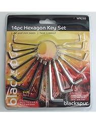 New Blackspur 14 pièce Hexagon clé Allen Set métriques et impériales Tailles