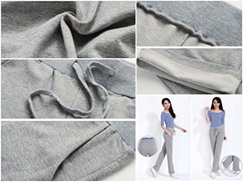 Bigood Femme Sport Longue Pantalon Droit Casual Confortable Classique Gris